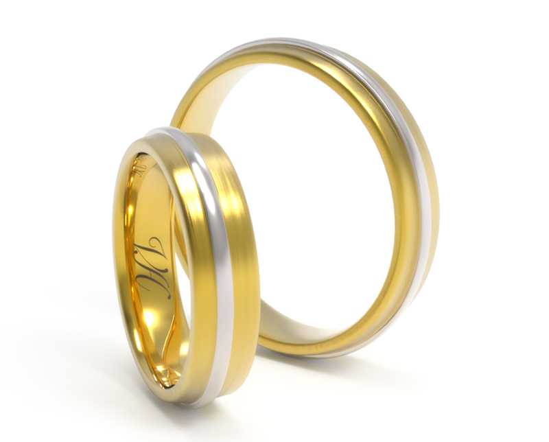 Argollas de matrimonio GeoRelieve oro amarillo 3